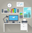 flat work space with long shadow vector image