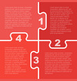 four red piece puzzle infographic 4 step vector image vector image