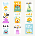 funny space monsters posters set vector image vector image