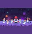 galaxy kids cartoon children in open cosmos vector image