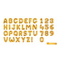 gold balloons alphabet letters and numbers 3d vector image