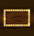 gold frame on a wooden background vector image