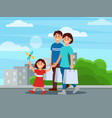 happy family walking by park after shopping vector image