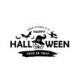 happy halloween message pumpkin in a hat vector image vector image