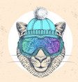 hipster animal cheetah in winter hat vector image