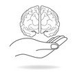 icon of a hand holding a human brain vector image vector image
