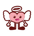 line color happy heart angel kawaii with arms and vector image vector image