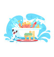little cheerful bahaving fun in bath vector image vector image