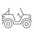 military vehicle thin line icon transport and vector image