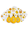 money bag and icon set design savings or vector image vector image