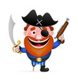 old pirate with a wooden leg vector image