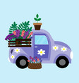 purple car with flowers vector image vector image