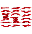red ribbon banner scarlet silk decorative empty vector image