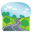Road with trees on both sides vector image vector image