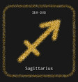 sagittarius golden sign of zodiac flat linear vector image