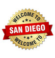 san diego 3d gold badge with red ribbon vector image vector image