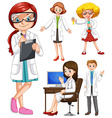 Scientists in white gown vector image vector image