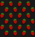 seamles strawberry pattern on dark background vector image
