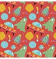 Space Aliens Cartoon Seamless Pattern vector image