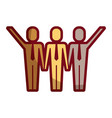 three men holding hands teamwork successful vector image vector image