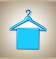 towel on hanger sign sky blue icon with vector image vector image