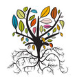tree with colorful leaves and curled roots vector image vector image