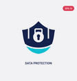 two color data protection icon from gdpr concept vector image