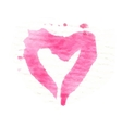 Watercolor painted pink heart element vector image
