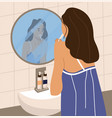 woman brushing her teeth female standing in front vector image