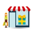 woman buys gifts icon vector image