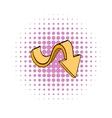 Yellow wavy arrow icon comics style vector image vector image