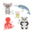 Zoo alphabet with funny cartoon animals M n o p vector image vector image
