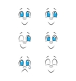 Emotions Hand drawn faces doodle drawing set vector image