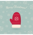 Red mitten on winter backdrop vector image