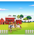 A cowboy with a cow inside the fence vector image vector image