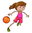 A simple coloured sketch of a girl playing vector image vector image