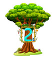 a tree with a number two figure vector image vector image