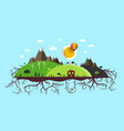 abstract flat design landscape island with roots vector image vector image