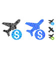 airplane price mosaic icon circles vector image vector image