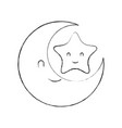 baby shower moon and star cartoon decoration vector image vector image