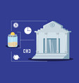 bank building with set icons economy finance vector image vector image