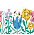 big cartoon flowers seamless composition border vector image vector image