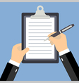 Business man hands signing business contract flat vector image