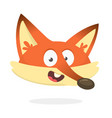 cartoon red fox talking or singing red smiling vector image vector image