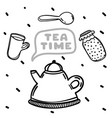 cartoon teapot and jam on white background tea vector image vector image