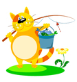 cat with a fishing rod vector image vector image