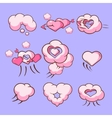 Cloud love hearts comic elements for Valentines vector image vector image