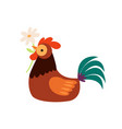 colorful rooster sitting with flower in beak vector image vector image