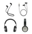earphones realistic headphone music accessory vector image
