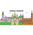 germany wiesbaden city skyline architecture vector image vector image